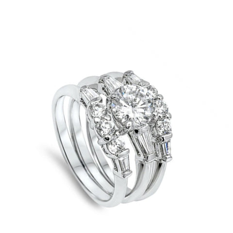 Image of Rings $54.38 1.25 Carat Three Stone Matching 3 Ring Engagement Ring Set 1-carat Bridal Sets cz er feminine