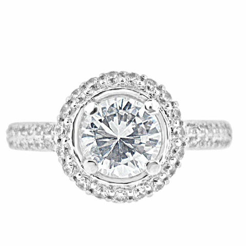 Image of Rings $100.00 1.25 Carat Vintage Style Double Halo Cubic Zirconia Engagement Ring (Silver) By Cz Sparkle Jewelry® Big Cross-Sell-1 Er