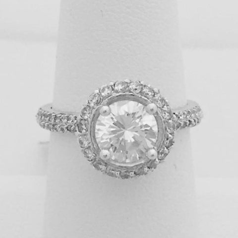 Rings $100.00 1.25 Carat Vintage Style Double Halo Cubic Zirconia Engagement Ring (Silver) By Cz Sparkle Jewelry® Big Cross-Sell-1 Er