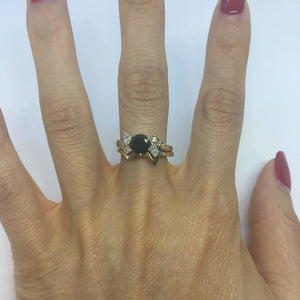 1.52 Carat Black Diamond Engagement in Marquise and Round Diamond Setting with Custom Matching Band 14K Yellow Gold