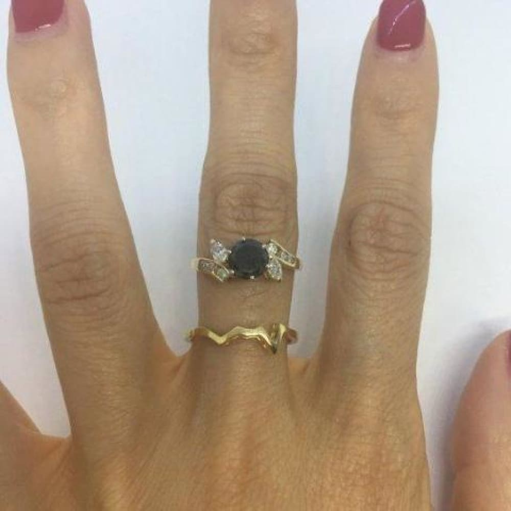 Rings $999.99 1.52 Carat Black Diamond Engagement In Marquise And Round Diamond Setting With Custom Matching Band 14K Yellow Gold Black