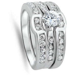 1 Carat 3 Ring Set Curved Bands Engagement Ring