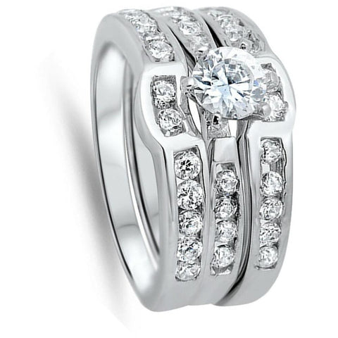 Rings $53.38 1 Carat 3 Ring Set Curved Bands Engagement Ring 1-carat Bridal Sets cz er sterling-silver