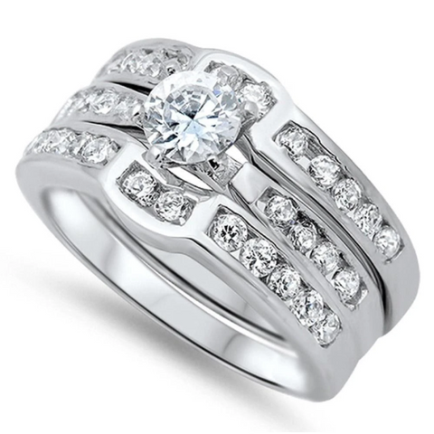 Image of Rings $53.38 1 Carat 3 Ring Set Curved Bands Engagement Ring 1-carat 50-100 badge-toprated Bridal Sets cubic-zirconia