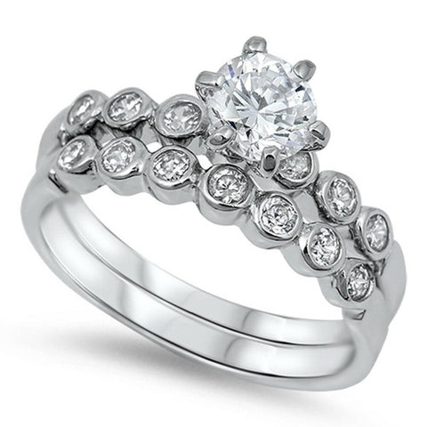Image of Rings $51.98 1 Carat 6 Prong CZ with Bezel Set Cubic Zirconia Matching Band 7 Stones 1-carat Bridal Sets clear cubic-zirconia cz