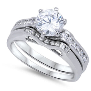 1 Carat Cubic Zircoina Engagement Ring with Matching Small Curved Band