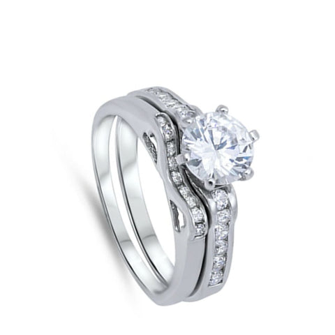Image of Rings $55.38 1 Carat Cubic Zircoina Engagement Ring with Matching Small Curved Band 1-carat 50-100 Bridal Sets clear cubic-zirconia