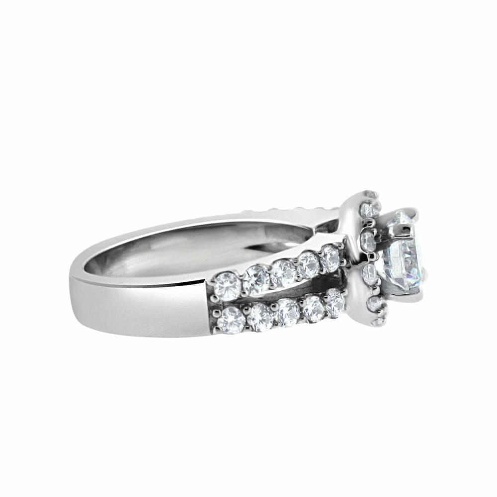 Rings $108.00 1 Carat Cubic Zirconia Halo Engagement Ring On Split Shank Stone Setting (Silver) By Cz Sparkle Jewelry® Big Cross-Sell-1 Er