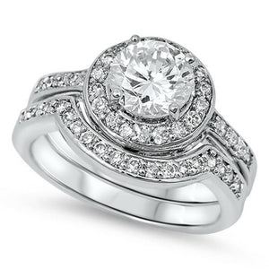 Rings $58.78 1 Carat Halo Bridal Engagement Ring Set with Matching Curved Band 1-carat Bridal Sets clear cz halo