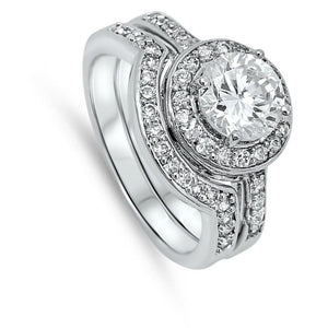 1 Carat Halo Bridal Engagement Ring Set with Matching Curved Band