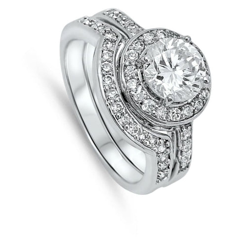 Image of Rings $58.78 1 Carat Halo Bridal Engagement Ring Set with Matching Curved Band 1-carat Bridal Sets clear cz halo