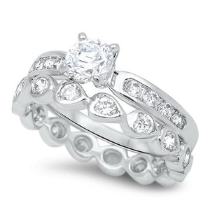 1 Carat Mismatched Engagement Ring Set with Heart Shaped Eternity Band
