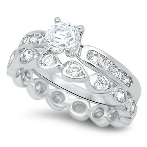 Image of Rings $54.98 1 Carat Mismatched Engagement Ring Set with Heart Shaped Eternity Band 1-carat 50-100 badge-toprated Bridal Sets clear