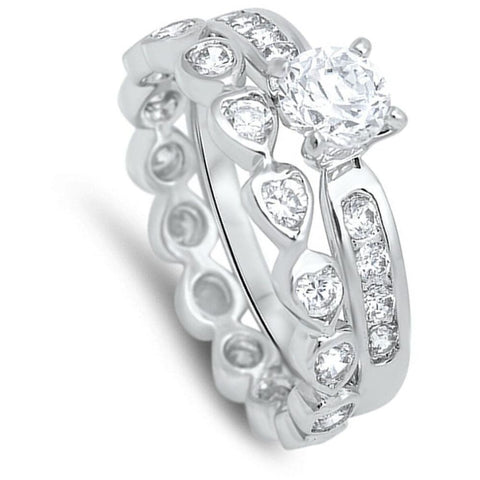 Image of Rings $54.98 1 Carat Mismatched Engagement Ring Set with Heart Shaped Eternity Band 1-carat Bridal Sets clear cz er