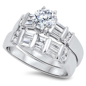 1 Carat Multi Row Baguette Band with Matching Engagement Ring Bridal Set