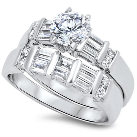 Image of Rings $76.58 1 Carat Multi Row Baguette Band with Matching Engagement Ring Bridal Set 1-carat 50-100 badge-toprated baguette Bridal Sets