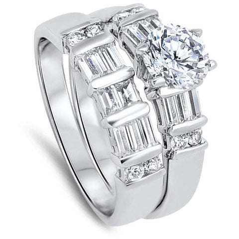 Image of Rings $76.58 1 Carat Multi Row Baguette Band with Matching Engagement Ring Bridal Set 1-carat baguette Bridal Sets clear cz