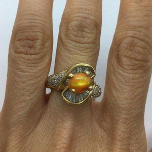 Rings $799.99 1 Carat Opal And 5 Baguette Diamond 14K Yellow Gold Ring Baguette Colored Stones Halo Opal Orange