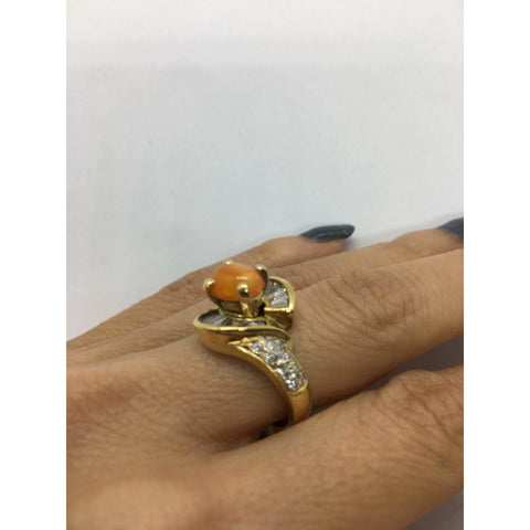 Image of Rings $799.99 1 Carat Opal And 5 Baguette Diamond 14K Yellow Gold Ring Baguette Colored Stones Halo Opal Orange