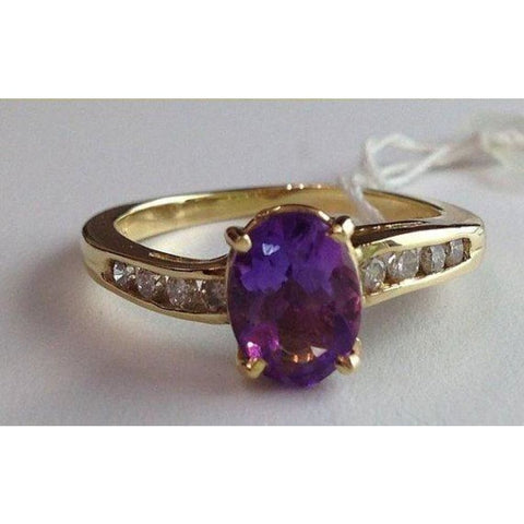 Rings $399.00 1 Carat Oval Amethyst And Round Diamond Ring In 14K Yellow Gold 1.27 Cttw Colored Stones Oval Purple Yg