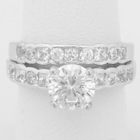 Rings $60.00 1 Carat Solitaire Cubic Zirconia Engagement Ring With Channel Set Stones And Matching Band Bridal Set (Silver) By Cz Sparkle