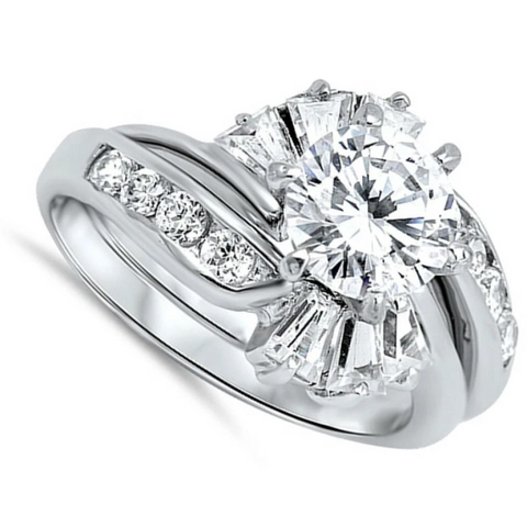 Image of Rings $58.58 1 Carat with Halo Twist Baguette Cubic Zirconia Engagement Ring with Matching Band Set 1-carat 50-100 badge-toprated baguette