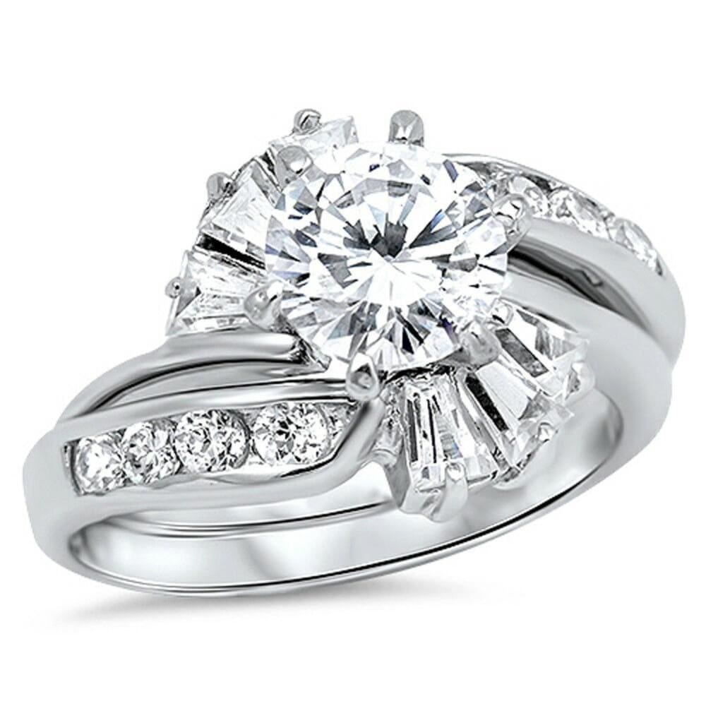 Rings $58.58 1 Carat with Halo Twist Baguette Cubic Zirconia Engagement Ring with Matching Band Set 1-carat baguette Bridal Sets clear cz