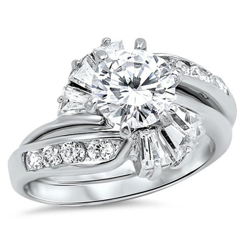 Image of Rings $58.58 1 Carat with Halo Twist Baguette Cubic Zirconia Engagement Ring with Matching Band Set 1-carat baguette Bridal Sets clear cz