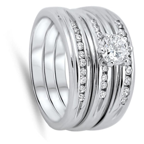 Rings $56.78 1/2 Carat 6 Prong CZ Engagement Ring Set with 2 Matching Bands 0.50 Carat Bridal Sets clear cz er