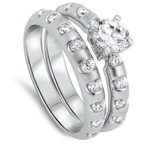 Rings $57.78 1/2 Carat CZ Sterling Silver Bridal Engagement Ring Set 0.50 Carat Bridal Sets clear cz er