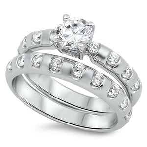 1/2 Carat CZ Sterling Silver Bridal Engagement Ring Set