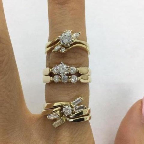 Rings $999.99 1/2 Carat Diamond Engagement Bridal Sets Matching Wedding Band - 14K Yellow Gold Bridal Sets Er Yg