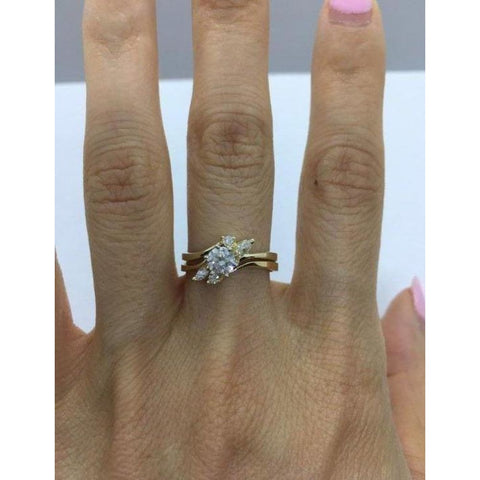 Image of Rings $999.99 1/2 Carat Diamond Engagement Ring With Matching Wedding Band 14K Yellow Gold Bridal Sets Er Marquise Yg