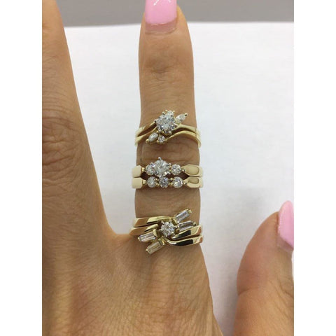 Rings $999.99 1/2 Carat Diamond Ring Bridal Set 14K Yellow Gold Engagement Ring With Matching Wedding Band Baguette Bridal Sets Er