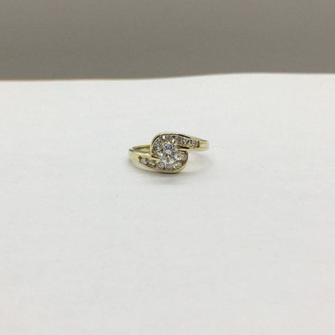 Image of Rings $999.99 1/2 Carat Engagement Ring 14K Yellow Gold 0.51 Ctw Halo Style 6 Prong High Setting Er Yg