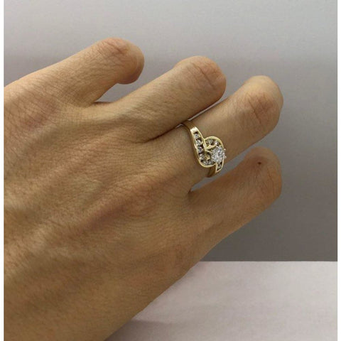 Rings $999.99 1/2 Carat Engagement Ring 14K Yellow Gold 0.51 Ctw Halo Style 6 Prong High Setting Er Yg