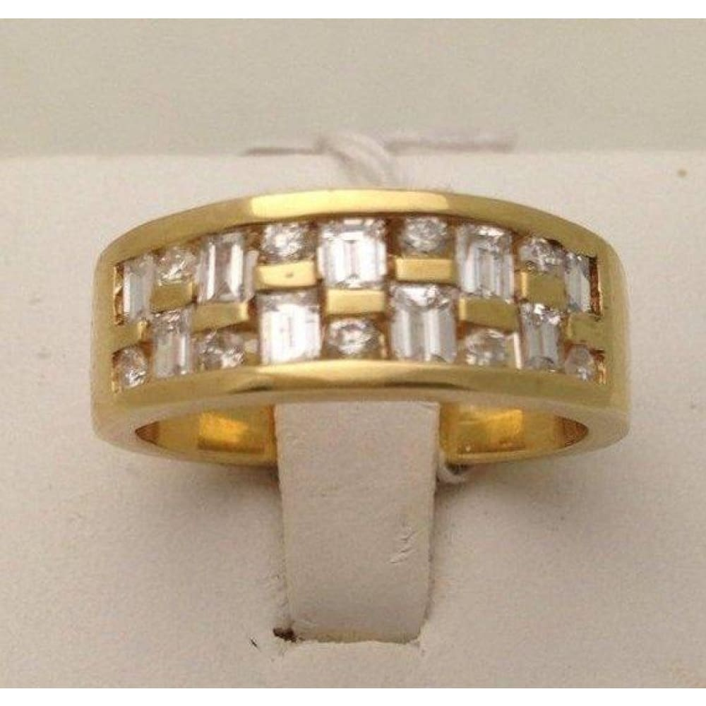 Rings $799.99 14K Wide Band Yellow Gold With Baguette And Round Diamonds Baguette Band Yg