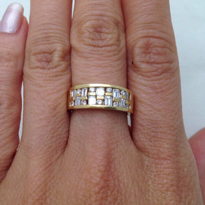 14K Wide Band Yellow Gold with Baguette and Round Diamonds