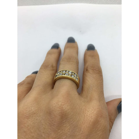 Image of Rings $799.99 14K Wide Band Yellow Gold With Baguette And Round Diamonds Baguette Band Yg
