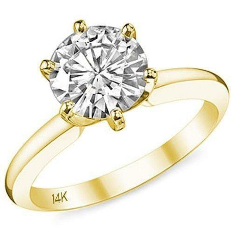 Image of Rings $399.99 14K Yellow Gold Cubic Zirconia Engagement Ring In 2 Carat 6 Prong Solitaire (Yellow Rose Or White Gold) By Cz Sparkle