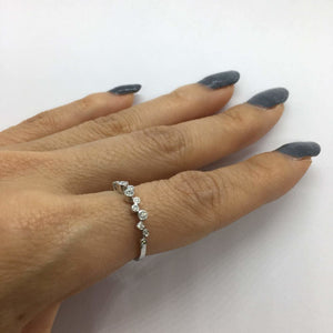 17 Diamond Bezel Wave Ring - 14K White, Yellow or Rose Gold