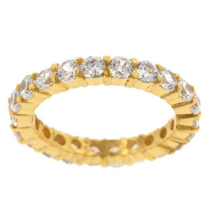 18K Gold Plated Sterling Silver CZ Sophia Eternity 3mm Band JGI