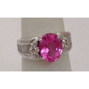 2.93 Carat Pink Topaz and Diamond Ring 18K White Gold
