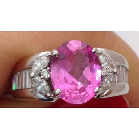Image of Rings $999.99 2.93 Carat Pink Topaz And Diamond Ring 18K White Gold Baguette Colored Stones Oval Pink