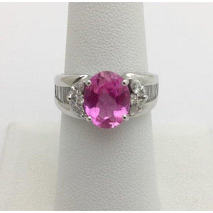 Rings $999.99 2.93 Carat Pink Topaz And Diamond Ring 18K White Gold Baguette Colored Stones Oval Pink