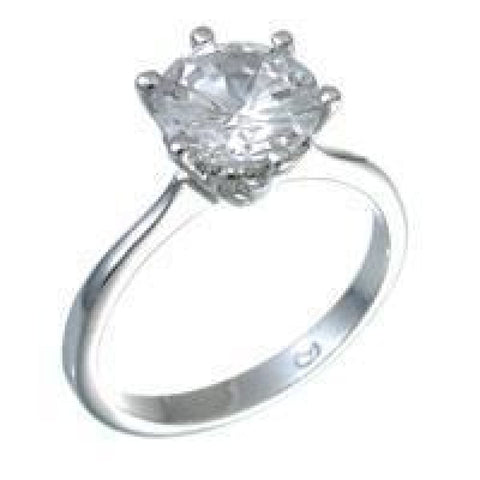 Rings $38.50 2 Carat 6 Prong Classique Engagement Ring JGI 2 carat cz er premium rhodium