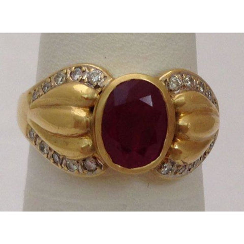 Image of Rings $799.99 2 Carat Bezel Set Ruby Ring With Diamonds - 18K Yellow Gold Bezel Oval Red Yg