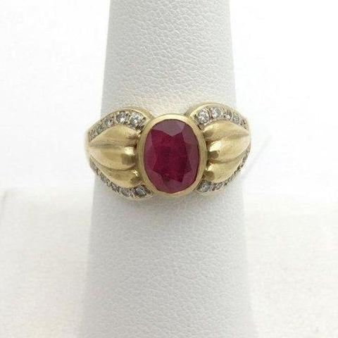 Rings $799.99 2 Carat Bezel Set Ruby Ring With Diamonds - 18K Yellow Gold Bezel Oval Red Yg