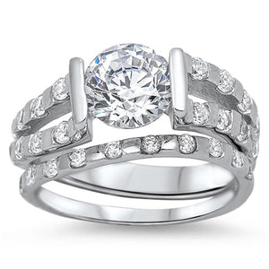 2 Carat Contemporary Split Shank Matching Engagement Ring Set with Spaced Out Set Cubic Zirconia