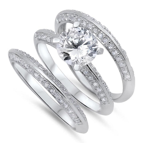 Rings $61.58 2 Carat Knife Edge Cubic Zirconia 3 Band Bridal Wedding Set 2-carat 2mm Bridal Sets clear cz